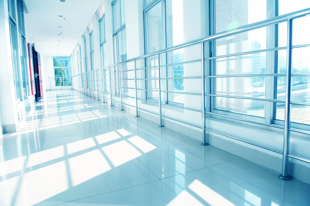 Photo of a hallway with lots of windows